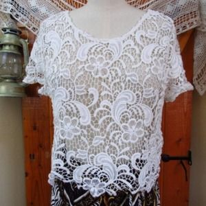 DIVIDED White Cotton Crochet Lace Layering Top S